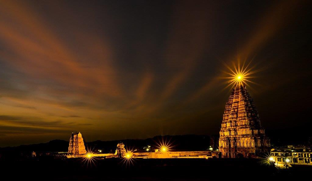 Virupaksha Temple, Hampi, at night